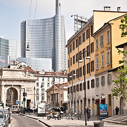 A street view of the city of Milan on April 6, 2012. The new Torre Garibaldi, inaugurated in October 2011, is the highest building in Italy.