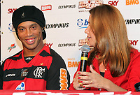 20110112: RIO DE JANEIRO, BRAZIL - Brazilian football star Ronaldinho Gaucho presentation at his new team Flamengo. About 20,000 fans showed up for the official introduction of two-time best player of the World. In picture: Ronaldinho and Patricia Amorim (Flamengo President) during the press conference. PHOTO: CITYFILES