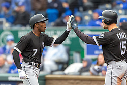 March 29, 2018 - Kansas City, MO, U.S. - KANSAS Kansas City, MO - MARCH 29: Chicago White Sox shortstop Tim Anderson (7) high fives Chicago White Sox center fielder Adam Engel (15) after hitting a home run during the major league opening day game against the Kansas City Royals on March 29, 2018 at Kauffman Stadium in Kansas City, Missouri. (Photo by William Purnell/Icon Sportswire) (Credit Image: © William Purnell/Icon SMI via ZUMA Press)