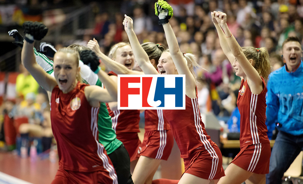 BERLIN - Indoor Hockey World Cup<br /> Bronze: Ukraine - Belarus<br /> foto: Belarus wins the third place <br /> WORLDSPORTPICS COPYRIGHT FRANK UIJLENBROEK