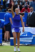 Petra Kvitova of the Czech Republic wins her match (4-6) (6-3) (6-2) and waves to the crowd during the Final of the Aegon Classic Birmingham at Edgbaston Priory Club, Edgbaston, United Kingdom on 25 June 2017. Photo by Martin Cole.