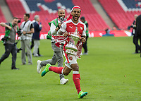 Football - 2017 FA Cup Final - Arsenal vs. Chelsea<br /> <br /> Theo Walcott of Arsenal sorints off with the FA cup at Wembley.<br /> <br /> COLORSPORT/DANIEL BEARHAM