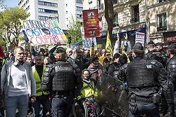 May 4, 2019 - Paris, France - Hundreds of officers oversee the protest to prevent disorder during the Yellow Vest protest on May 4, 2019 in Paris, France. Act 25 of the Gilets Jaunes (Yellow Vests) protests in Paris against the economic reforms of President Macron saw thousands of people march through Paris wearing the high vis vests associated with the protests. (Credit Image: © Guillaume Pinon/NurPhoto via ZUMA Press)