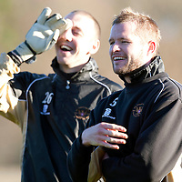 St Johnstone training...04.12.09<br /> Kevin Rutkiewicz and Graeme Smith having fun in training this morning ahead of tomorrow's game against Kilmarnock.<br /> see story by Gordon Bannerman Tel: 07729 865788<br /> Picture by Graeme Hart.<br /> Copyright Perthshire Picture Agency<br /> Tel: 01738 623350  Mobile: 07990 594431