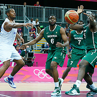 06 August 2012: France Boris Diaw passes the ball during 79-73 Team France victory over Team Nigeria, during the men's basketball preliminary, at the Basketball Arena, in London, Great Britain.