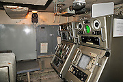 Israel, Haifa, The Clandestine Immigration and Navy Museum Interior of the Israeli Navy Missile boat INS Mivtach Sonar submarine detection equipment
