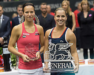 Dominika Cibulkova (SVK, with Viktorija Golubic (SUI), after winning the final of the WTA Generali Ladies Linz Open at TipsArena, Linz<br /> Picture by EXPA Pictures/Focus Images Ltd 07814482222<br /> 16/10/2016<br /> *** UK &amp; IRELAND ONLY ***<br /> <br /> EXPA-REI-161016-5027.jpg