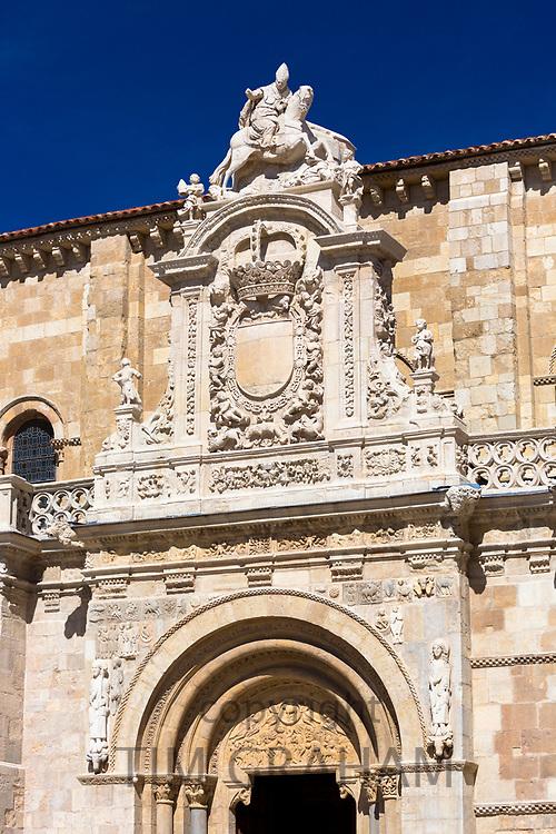Basilica San Isidoro on the Way of St James pilgrim route Camino de Santiago in Leon, Castilla y Leon, Spain
