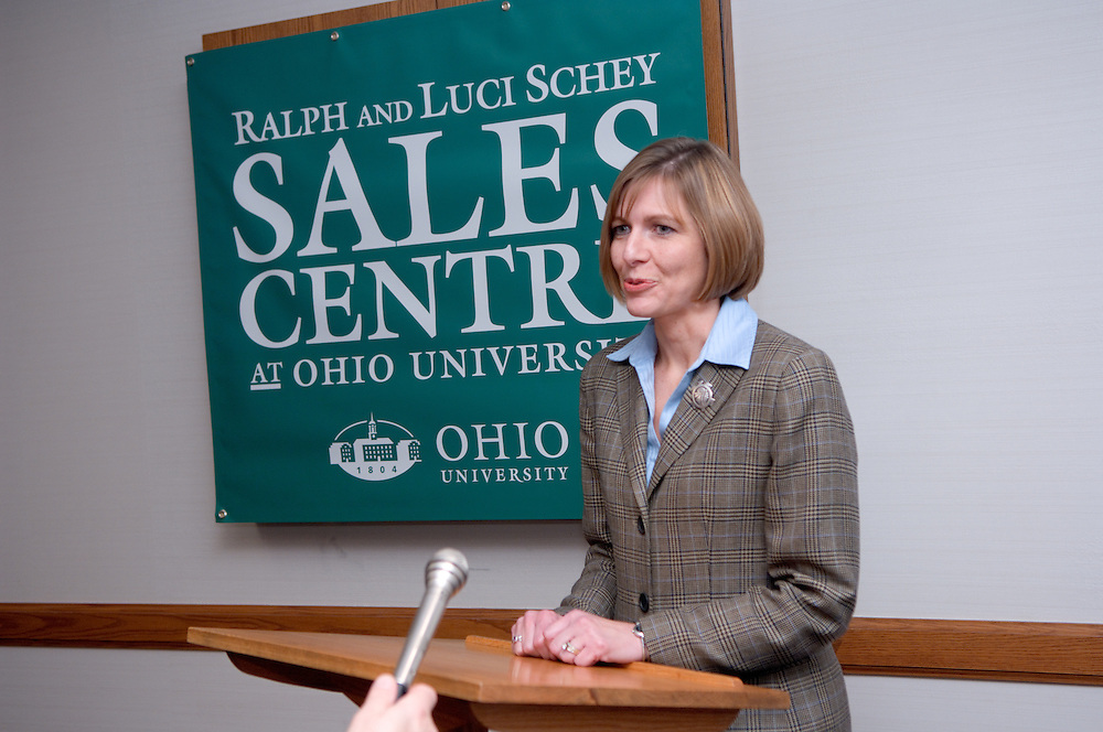 """Dawn Deeter..11/1/2006..Ralph and Luci Schey Sales Centre named at Ohio University.Center named for prominent Cleveland-area residents..ATHENS, Ohio (Nov. 1, 2006) -- Ohio University celebrated today the naming of the Ralph and Luci Schey Sales Centre in the College of Business. The Ohio University Board of Trustees passed a resolution that approved the official naming of the center during its recent meeting. Ralph and Luci Schey are residents of Gates Mills, Ohio...""""The Ralph and Luci Schey Sales Centre is truly a unique program that continues to meet the needs of current and future Ohio University students,"""" Ohio University President Roderick J. McDavis said. """"The skills that students develop at the center are useful in a variety of academic pursuits and careers. Statistics show that up to 65 percent of college graduates' first professional jobs are in sales-related roles.""""..Ralph Schey was a guiding force behind the creation of the center in 1997. He challenged the university to get involved in sales education. """"It is particularly fitting that the center has now been named for those who first inspired us,"""" said College of Business Associate Dean Dawn Deeter-Schmelz...Ralph and Luci Schey have supported their vision with a $2.2 million commitment to support the sales center. The endowment they have funded supports scholarships, operating expenses, nationally known speakers, professional trainers, workshops and sales symposia that allow current students to interact with professionals in the field...Ralph Schey, now retired, was for two decades president and CEO of the $1 billion conglomerate Scott Fetzer Company, a Berkshire Hathaway holding. His wife, Luci Schey, has been a trustee for the Cleveland Orchestra, among other civic groups. The Scheys are emeriti trustees of The Ohio University Foundation Board. Ralph Schey earned his bachelor's of science in commerce from Ohio University in 1948 and received an honorary doctorate from the university in 1987...Larry Sc"""