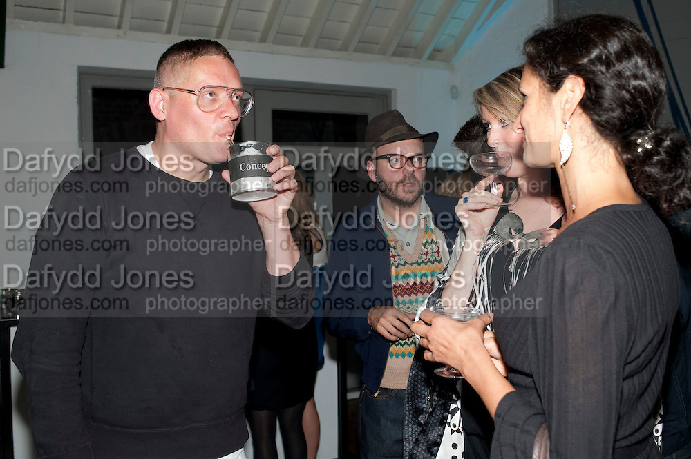 GILES DEACON, Giles Deacon after-show party. Elm lester painting rooms. Leicester Sq. London. 19 September 2011. <br /> <br />  , -DO NOT ARCHIVE-© Copyright Photograph by Dafydd Jones. 248 Clapham Rd. London SW9 0PZ. Tel 0207 820 0771. www.dafjones.com.