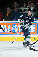 KELOWNA, CANADA -FEBRUARY 10: Russell Maxwell #37 of the Seattle Thunderbirds passes the puck against the Kelowna Rockets on February 10, 2014 at Prospera Place in Kelowna, British Columbia, Canada.   (Photo by Marissa Baecker/Getty Images)  *** Local Caption *** Russell Maxwell;