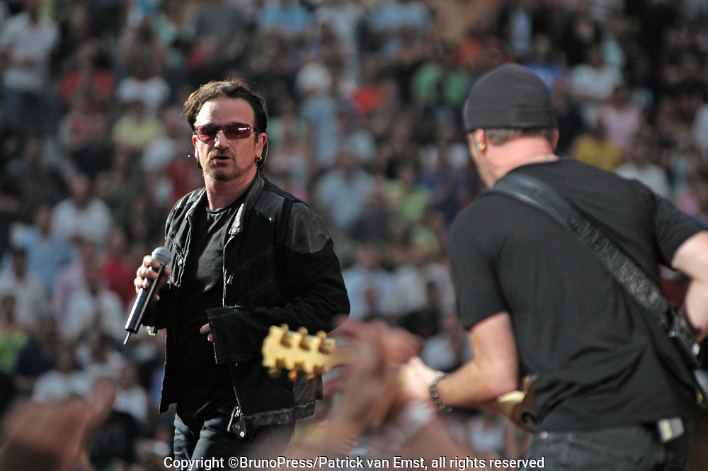 U2 live in the Amsterdam Arena, The Netherlands as a part of their Vertigo Tour