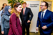 HAARLEM - King Willem-Alexander and Minister Wouter Koolmees van Financien during a working visit to meat products company Zandbergen bacon specialist. The visit is dedicated to status holders and integration.