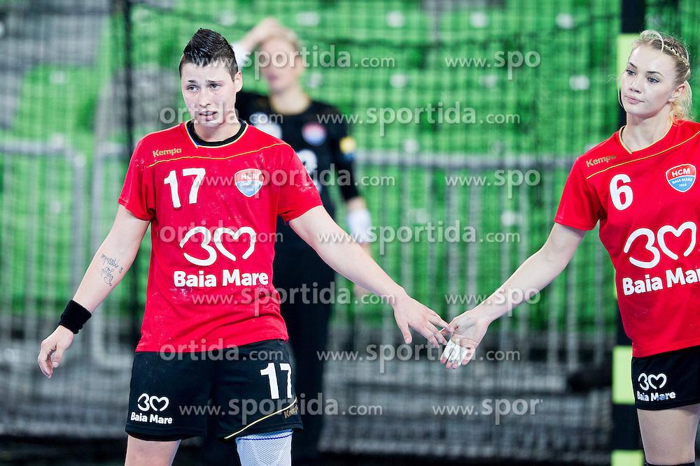 Katarina Jezic and Ana Maria Tanasie of HCM Baia Mare celebrate during handball match between RK Krim Mercator (SLO) and HCM Baia Mare (ROM) in 1st Round of Women's EHF Champions League 2015/16, on October 16, 2015 in Arena Stozice, Ljubljana, Slovenia. Photo by Urban Urbanc / Sportida