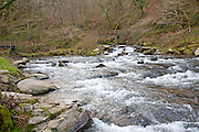 Confluence of East Lyn River and Hoar Oak water at Watersmeet, Exmoor national park, near Lynmouth, Devon, England