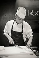 Chef Satoshi Hayashida working at restaurant Kappou Ukai in Ginza, Tokyo