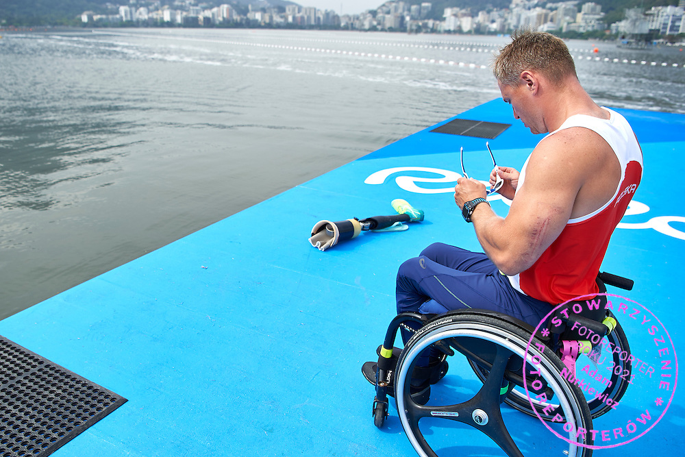 Rio de Janeiro, Brazil - 2016 September 03: Jakub Tokarz from Poland prepares during canoe sprint training session in Lagoa Stadium while 2016 Summer Paralympic Games on September 03, 2016 in Rio de Janeiro, Brazil.<br /> Rio 2016 Paralympic Games will be held from September 7 until 18.<br /> <br /> Adam Nurkiewicz declares that he has no rights to the image of people at the photographs of his authorship.<br /> <br /> Picture also available in RAW (NEF) or TIFF format on special request.<br /> <br /> Any editorial, commercial or promotional use requires written permission from the author of image.<br /> <br /> Mandatory credit:<br /> Photo by &copy; Adam Nurkiewicz / Mediasport