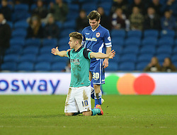 Blackburn Rovers's Tom Cairney protest to the referee after being fouled. - Photo mandatory by-line: Alex James/JMP - Mobile: 07966 386802 - 17/02/2015 - SPORT - Football - Cardiff - Cardiff City Stadium - Cardiff City v Blackburn Rovers - Sky Bet Championship