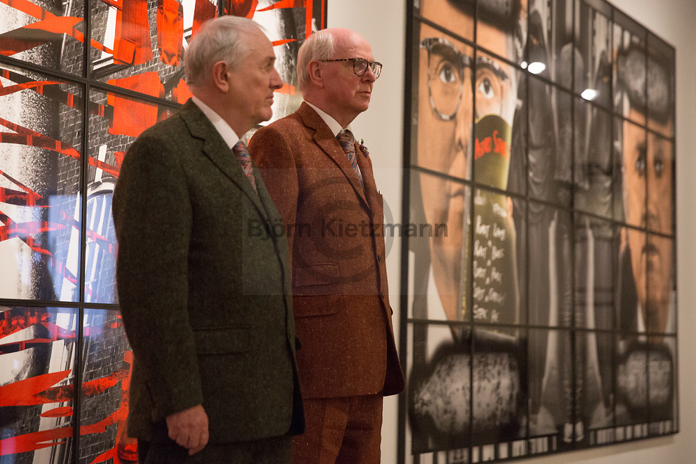 Berlin, Germany - 19.05.2017<br /> <br /> The artists Gilbert &amp; George at their &quot;The Scapegoating Picture&rdquo;-exhibition the St. Matthaeus church in Berlin.<br /> <br /> Die Kuenstler Gilbert &amp; George in ihrer &quot;The Scapegoating Picture&quot;-Ausstellung in der St. Matthaeus Kirche in Berlin.<br /> <br /> Photo: Bjoern Kietzmann