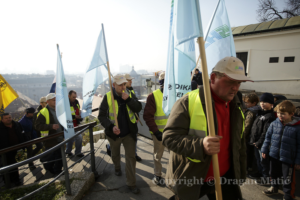 Railroad workers go to the government building to protest against the poor condition of the Croatian Railways.