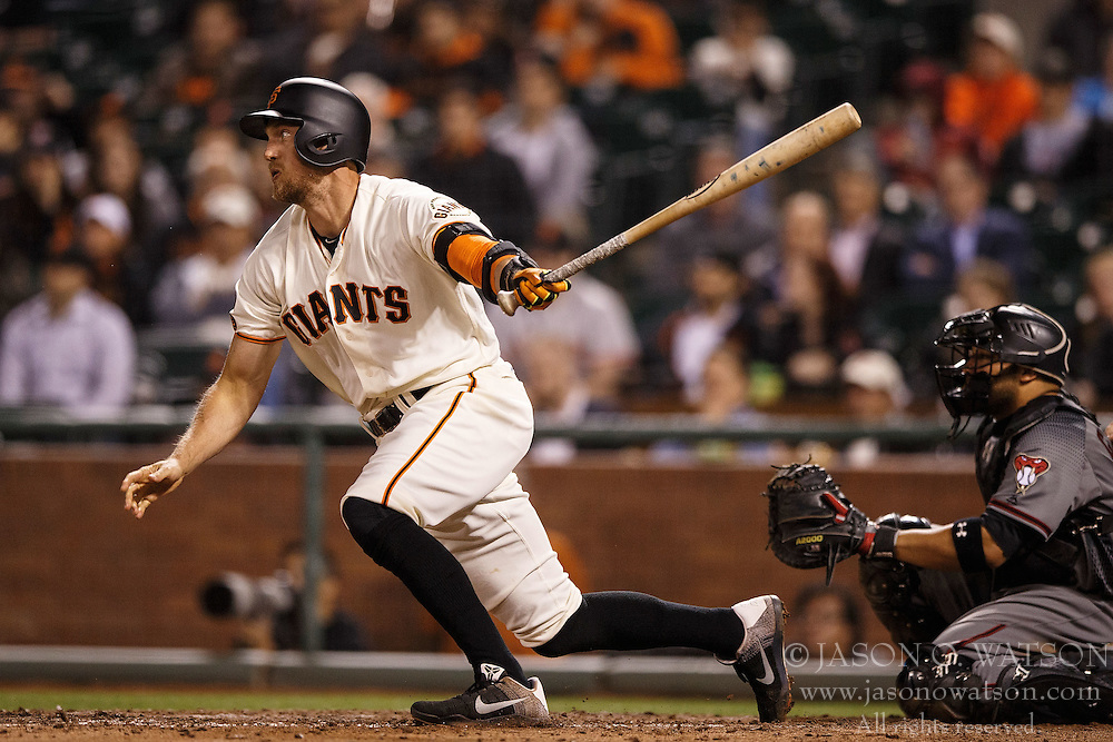 SAN FRANCISCO, CA - APRIL 18: Hunter Pence #8 of the San Francisco Giants at bat against the Arizona Diamondbacks during the sixth inning at AT&T Park on April 18, 2016 in San Francisco, California. The Arizona Diamondbacks defeated the San Francisco Giants 9-7 in 11 innings.  (Photo by Jason O. Watson/Getty Images) *** Local Caption *** Hunter Pence