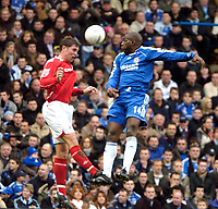 Photo: Ed Godden/Sportsbeat Images.<br /> Chelsea v Nottingham Forest. The FA Cup. 28/01/2007. <br /> Chelsea's Geremi (R), leaps high for the ball with Grant Holt.