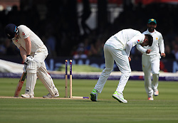 Pakistan's Mohammad Amir celebrates taking the last wicket of England's Dom Bess during day four of the First NatWest Test Series match at Lord's, London.