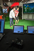 Photokina 2008, World's bigest bi-annual photo fair. Casio golf simulator for trying out the new high speed camera Casio Exilim EX-FH20.