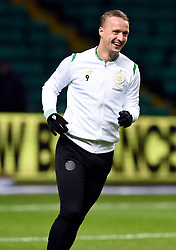 Celtic's Leigh Griffiths during the warm up before the Scottish Premiership match at Celtic Park, Glasgow.