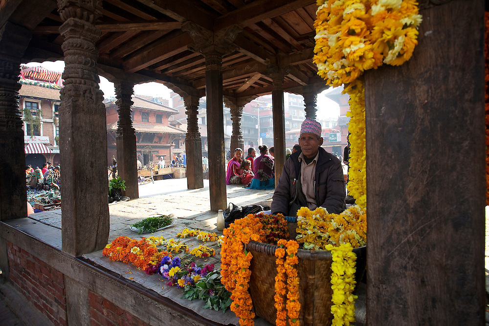 Flowers on sale in Patan Durbar Square, Lalitpur, Kathmandu valley, Nepal.