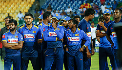 September 3, 2017 - Colombo, Sri Lanka - Sri Lankan cricket captain Upul Tharanga and the team mates are seen after the 5th and final One Day International cricket match between Sri Lanka and India at the R Premadasa international cricket stadium at Colombo, Sri Lanka on Sunday 3 September 2017. (Credit Image: © Tharaka Basnayaka/NurPhoto via ZUMA Press)