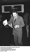 Lucian Freud at Lord Antony Lambton's book party. London 19/9/83. Film 83644f13<br />© Copyright Photograph by Dafydd Jones<br />66 Stockwell Park Rd. London SW9 0DA<br />Tel 0171 733 0108