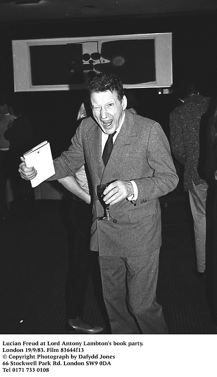 Lucian Freud at Lord Antony Lambton's book party. London 19/9/83. Film 83644f13<br />&copy; Copyright Photograph by Dafydd Jones<br />66 Stockwell Park Rd. London SW9 0DA<br />Tel 0171 733 0108