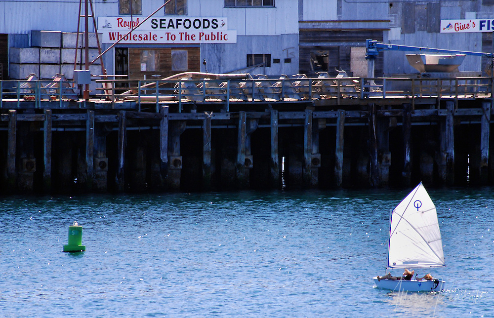 A recreational sailboat passes industrial and seafood distribution businesses along the wharf in Monterey, California
