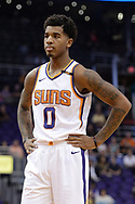 Oct 25, 2017; Phoenix, AZ, USA; Phoenix Suns forward Marquese Chriss (0) stands on the court during the game against the Utah Jazz at Talking Stick Resort Arena. Mandatory Credit: Jennifer Stewart-USA TODAY Sports