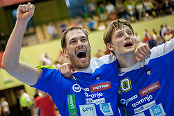 Jure Natek #9 of and Jure Dolenec #10 of Slovenia during handball match between National teams of Slovenia and Hungary in play off of 2015 Men's World Championship Qualifications on June 15, 2014 in Rdeca dvorana, Velenje, Slovenia. Photo by Urban Urbanc / Sportida