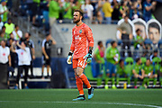 Stefan Frei (24) of Seattle Sounders looks at the scoreboard during an MLS soccer match against the LA Galaxy on Saturday, September 1, 2019, in Seattle, Washington. (Alika Jenner/Image of Sport via AP)