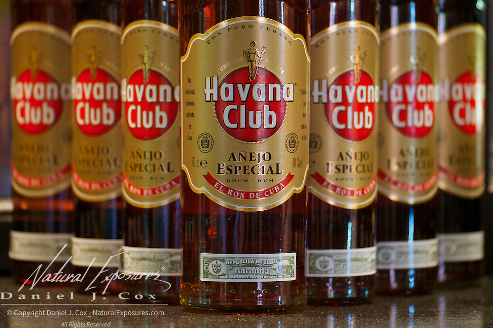 Bottles of Havana Club rum on the shelves of a bar in Havana, Cuba.