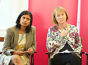 Harriet Harman MP, Labour's Deputy Leader and Shadow Secretary of State for Culture, Media and Sport delivers the last speech of Labour&rsquo;s summer campaign on The Choice facing the country between Labour and the Tories. At the Pitzhanger Gallery &amp; House, Ealing, London, Great Britain 26th August 2014.<br /> <br /> with Dr Rupa Haq - Labour's Parliamentary Candidate in Ealing Central and Acton for 2015 elections <br /> Virenda Sharma MP for Ealing Southall <br /> Dr Onkar Sahota GLA Member Ealing &amp; Hillingdon <br /> and Cllr Julian Bell leader of Ealing Council <br /> <br /> <br /> Photograph by Elliott Franks <br /> Image licensed to Elliott Franks Photography Services