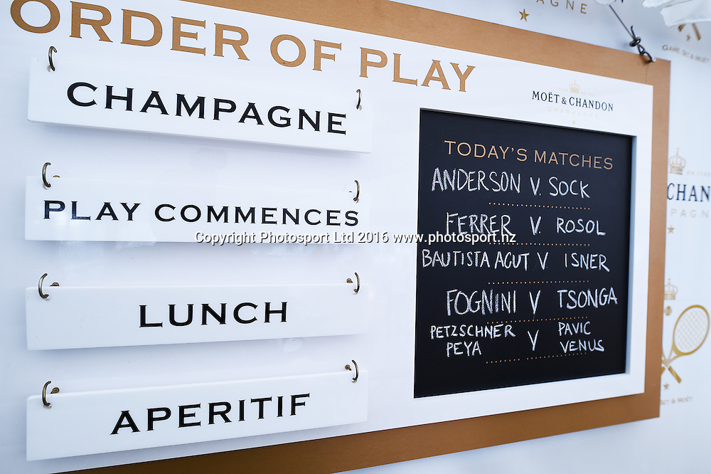Moet Lounge on quarter finals day at the ASB Classic Tennis Men's tournament. ASB Tennis Centre, Stanley st, Auckland, New Zealand. Thursday 14 January 2016. Copyright Photo: Andrew Cornaga / www.photosport.nz