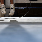 Lesley Quezada jumps rope during her workout at LaHabra Boxing Club on Thursday, November 5, 2015. Lesley attends the boxing club with her father, Abraham.