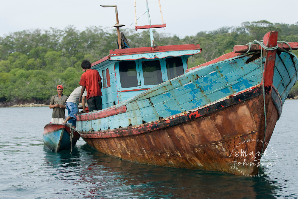Fishing boat anchored off mangroves, Mentawai Islands, Indonesia