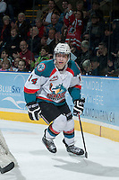KELOWNA, CANADA -FEBRUARY 19: Rourke Chartier #14 of the Kelowna Rockets skates behind the net after scoring a goal against the Tri City Americans on February 19, 2014 at Prospera Place in Kelowna, British Columbia, Canada.   (Photo by Marissa Baecker/Getty Images)  *** Local Caption *** Rourke Chartier;