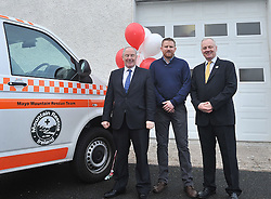 Pictured at the official opening of Mayo Mountain Rescue's headquarters at Pinewoods Westport last week were Jerome Hopkins Team Leader MMRT, Minister of State Michael Ring TD and Shane McGuire MMRT Chairman.<br /> Pic Conor McKeown