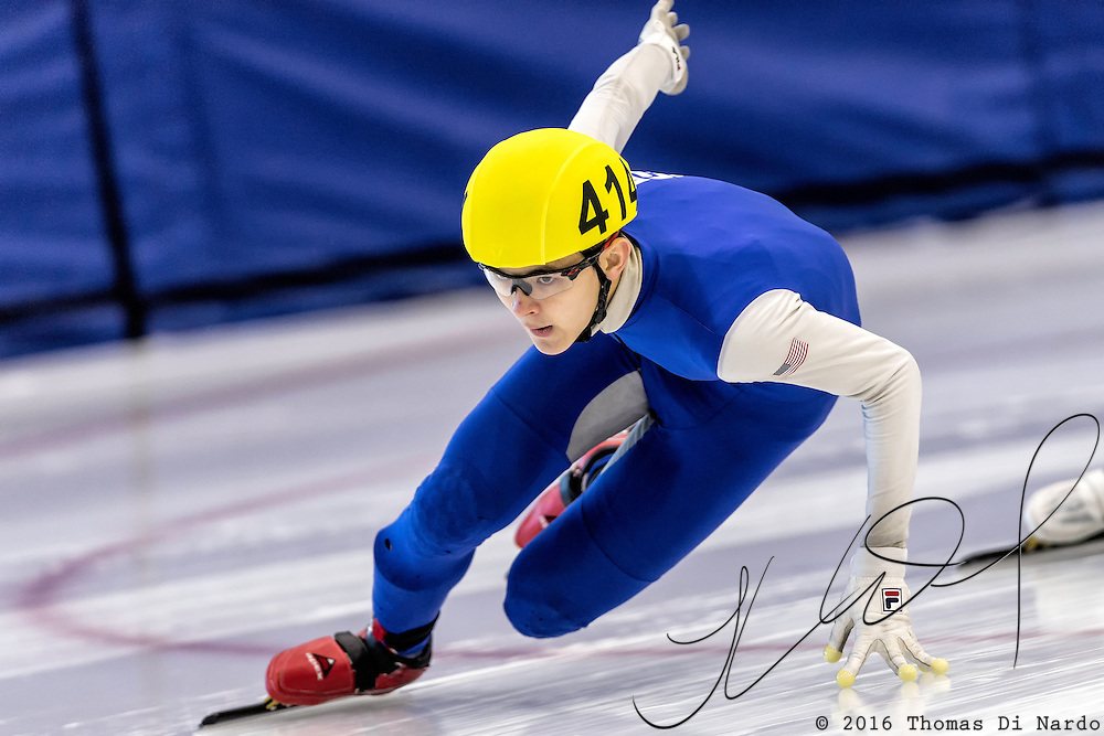 December 17, 2016 - Kearns, UT - Luca Lim skates during US Speedskating Short Track Junior Nationals and Winter Challenge Short Track Speed Skating competition at the Utah Olympic Oval.