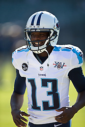 OAKLAND, CA - NOVEMBER 24: Kendall Wright #13 of the Tennessee Titans warms up before the game against the Oakland Raiders at O.co Coliseum on November 24, 2013 in Oakland, California. The Tennessee Titans defeated the Oakland Raiders 23-19. (Photo by Jason O. Watson/Getty Images) *** Local Caption *** Kendall Wright