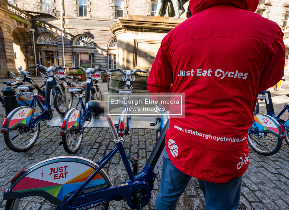 City Chambers, Edinburgh, Scotland, United Kingdom, Just Eat E-bikes: A new fleet of 163 rentable e-bikes are launched and integrated into the capital's existing cycle hire scheme by Just Eat Cycles. Edinburgh will now have the largest docked e-bike fleet in UK. <br /> Sally Anderson   EdinburghElitemedia.co.uk