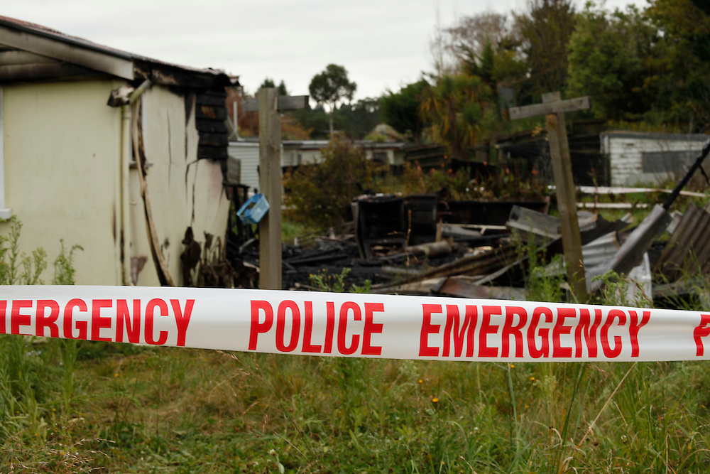 A burnt out house in the earthquake damaged Red Zone at Pines Beach is suspected arson, the house had no electricity, Kaiapoi, New Zealand, Sunday, May 06, 2012.  Credit:SNPA / Pam Johnson