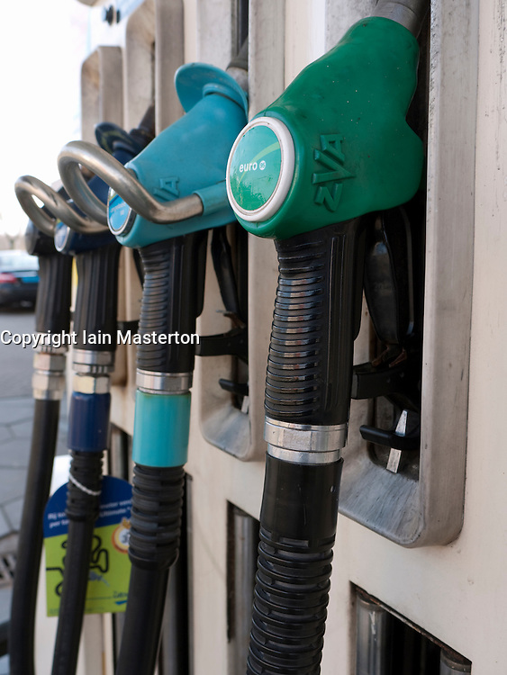 Detail of petrol pumps at BP filing station in the Netherlands
