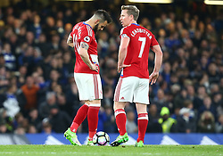 May 8, 2017 - Chelsea, Greater London, United Kingdom - L-R Alvaro Negredo of Middlesbrough  and Grant Leadbitter of Middlesbrough.during Premier League match between Chelsea and Middlesbrough at Stamford Bridge, London, England on 08 May 2017. (Credit Image: © Kieran Galvin/NurPhoto via ZUMA Press)